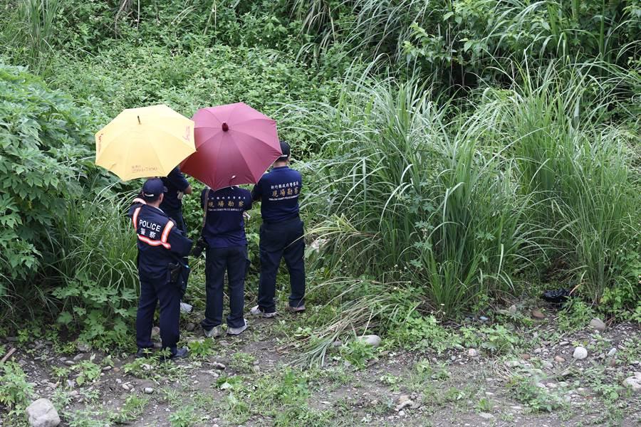 新竹縣竹東警方在家屬擲筊問路下,成功在雜草叢生的河濱公園找到遭姦殺焚屍的少女屍首。(中時資料庫)