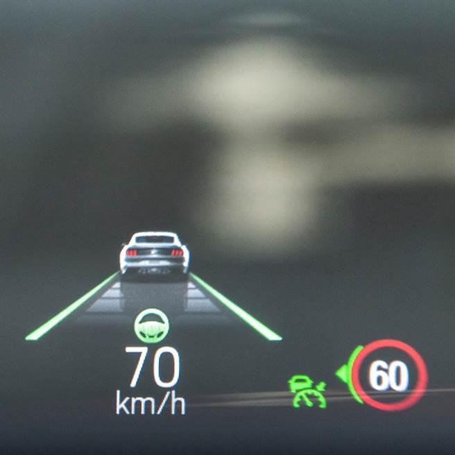 抬頭顯示器可顯示各項行車資訊。(陳大任攝)