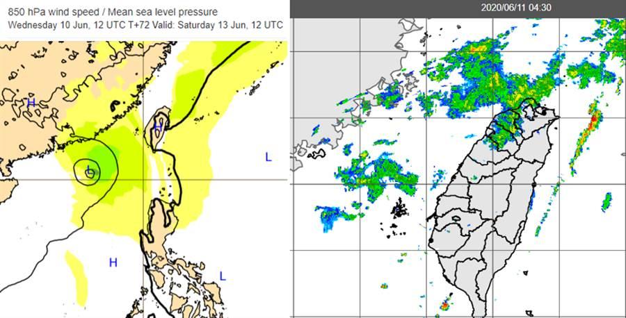 最新歐洲模式模擬顯示,熱帶擾動已穿過呂宋島,進入南海(左圖);11日晨4:30雷達回波合成圖(右圖)顯示,北部有微弱回波移入,有少量飄雨並不明顯。(圖擷自吳德榮專欄)