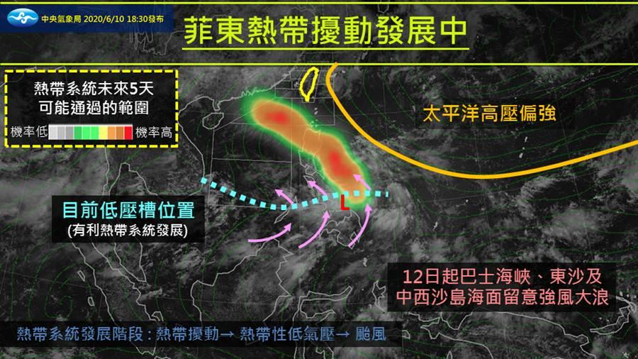 氣象局表示,目前菲律賓東側有個熱帶擾動正在發展,未來有機會成為颱風。(圖擷自氣象局粉絲頁)