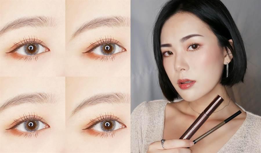 睫毛換上可可色,搭配大地色系眼影和深棕色眼線,打造像混血兒般的自然深遂感。(圖/IG@2.20_l、joanne_zhu79)