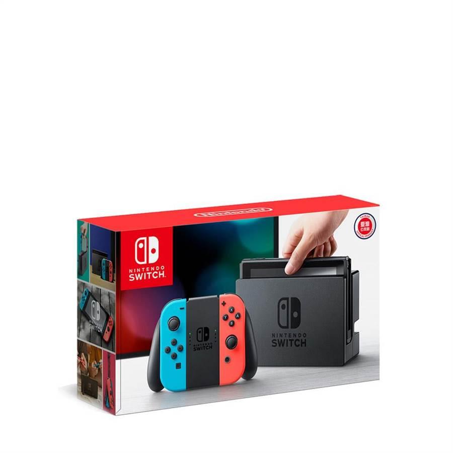 beauty STAGE美麗台「Nintendo Switch紅藍主機電力加強版遊戲同捆組」,超級瑪利歐派對+機甲戰魔中文版,18日全台限量,組合價13360元。(新光三越提供)