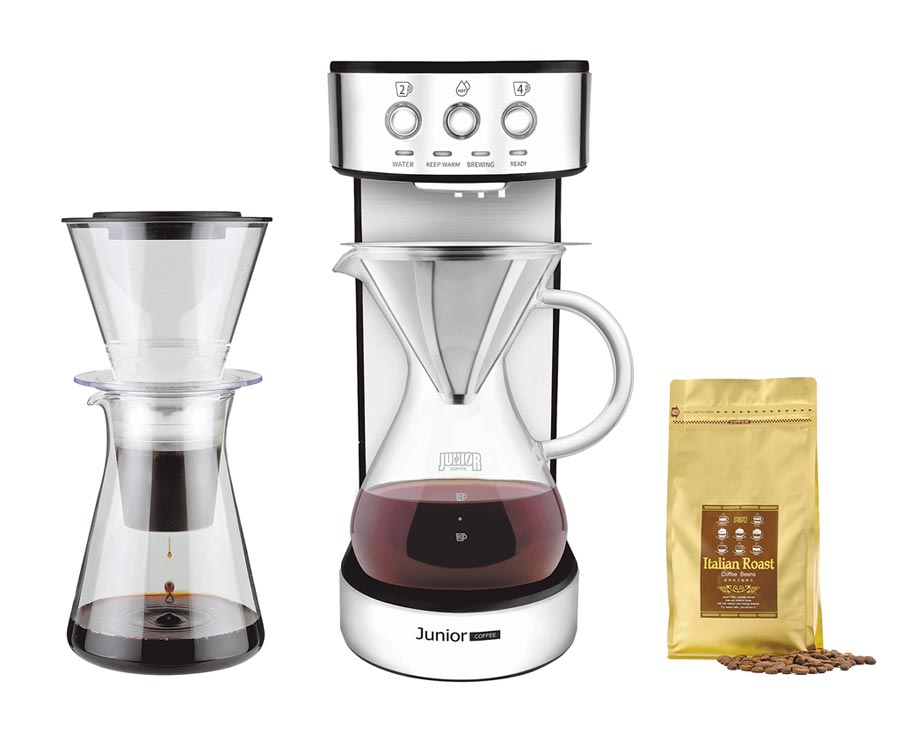 統一時代百貨台北店的JUNIOR職人濾泡咖啡機,原價1萬7210元,特價9900元,18日起限量優惠20組。(統一時代百貨提供)