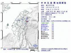 花蓮近海規模4.7地震 最大震度3級