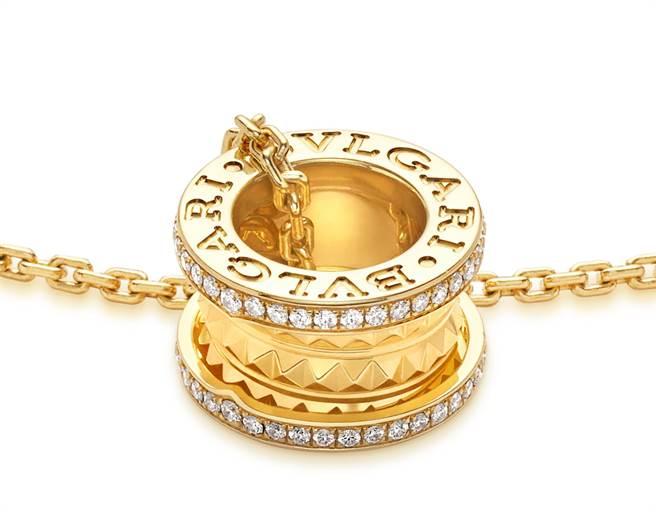 寶格麗B.zero1 Rock系列黃K金三環鑲鑽項鍊,約17萬7700元。(BVLGARI提供)