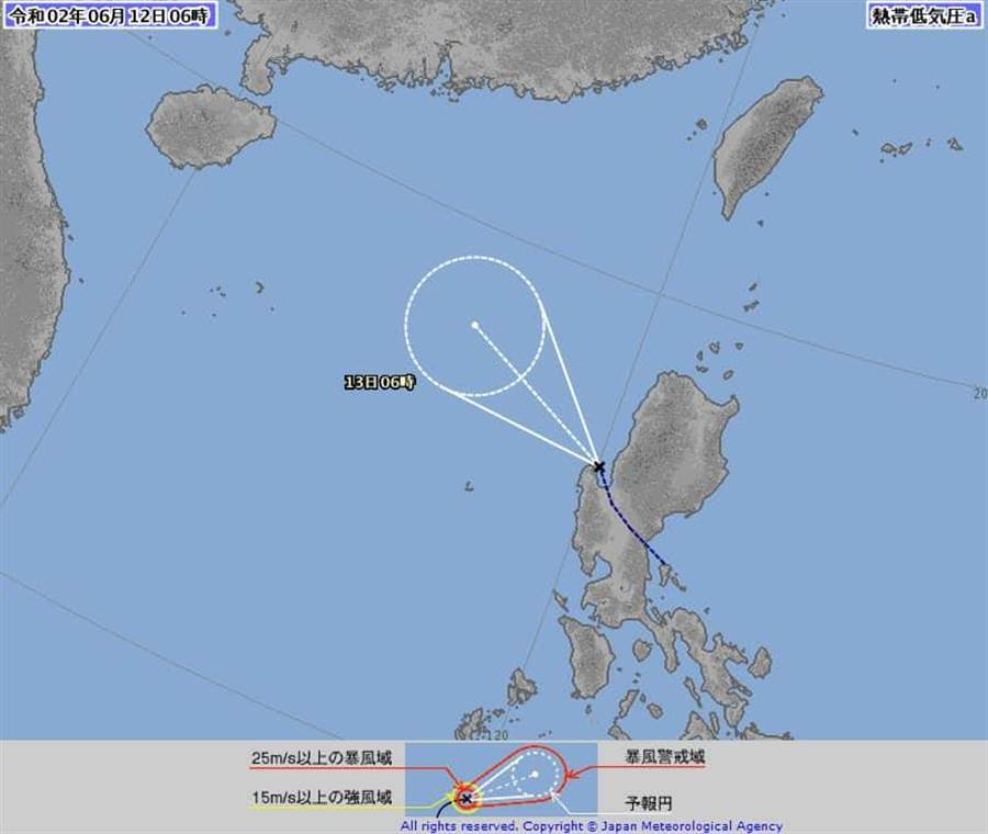 日本氣象廳發布熱低壓成形,氣象預報士賈新興表示,熱低壓預估最快今晚至明晨,將出現今年第二號颱風。(圖擷自日本氣象廳)