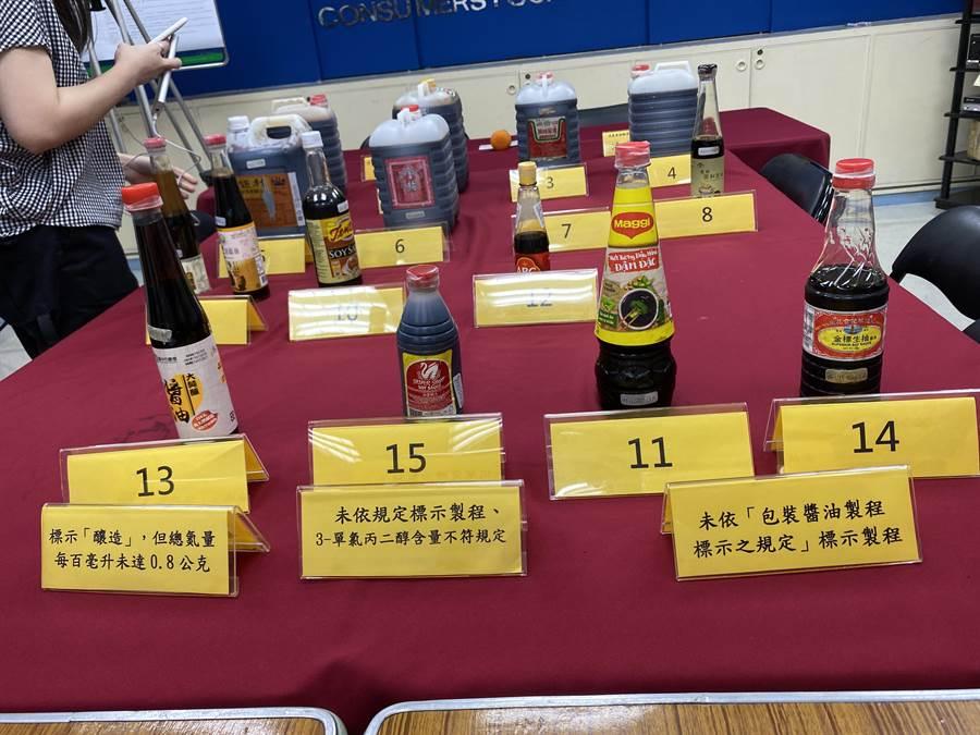 消基會本次檢測15款醬油,其中4項未符合「包裝醬油製程標示之規定」及標示不實,當中菲律賓進口醬油調味液(SILVER SWAN SOY SAUCE)的3-單氯丙二醇含量大超出2.5倍,可依法重罰。(李柏澔攝)