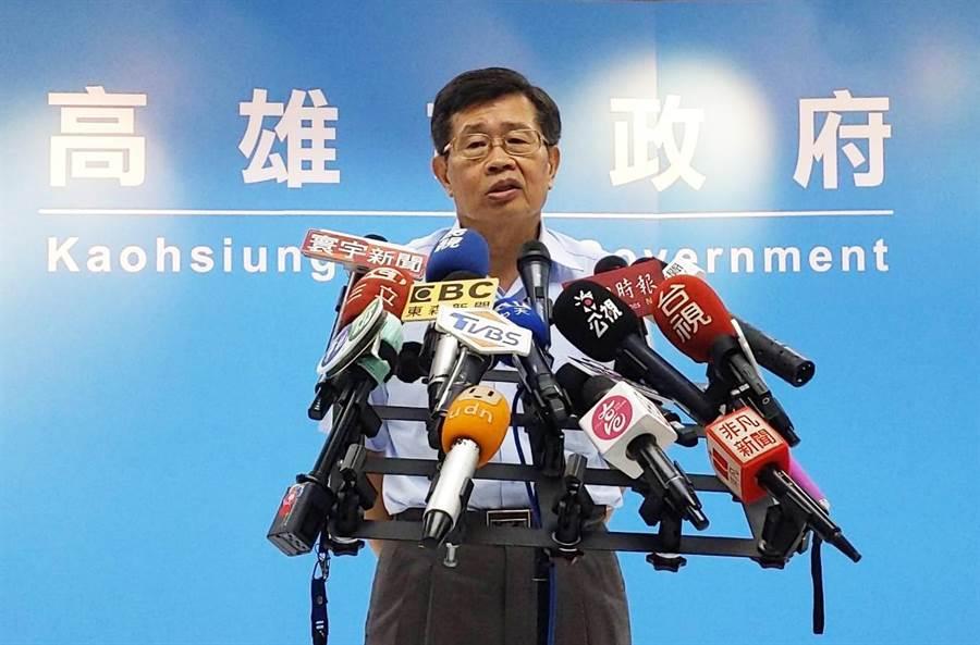 高雄巿代理巿長楊明州12日走馬上任。(曹明正攝)