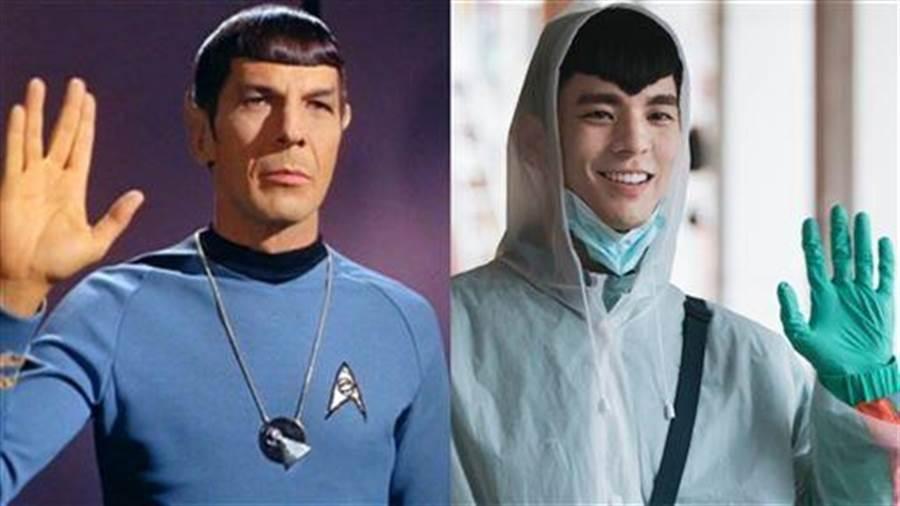 林柏宏愛心頭神似《星際爭霸戰》的經典角色史巴克。(左:取自IMDb、右:牽猴子整合行銷提供)