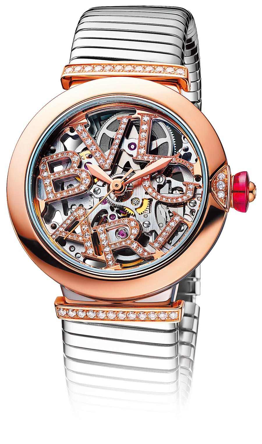 寶格麗LVCEA SKELETON TUBOGAS鏤空腕表,約48萬2100元。(BVLGARI提供)