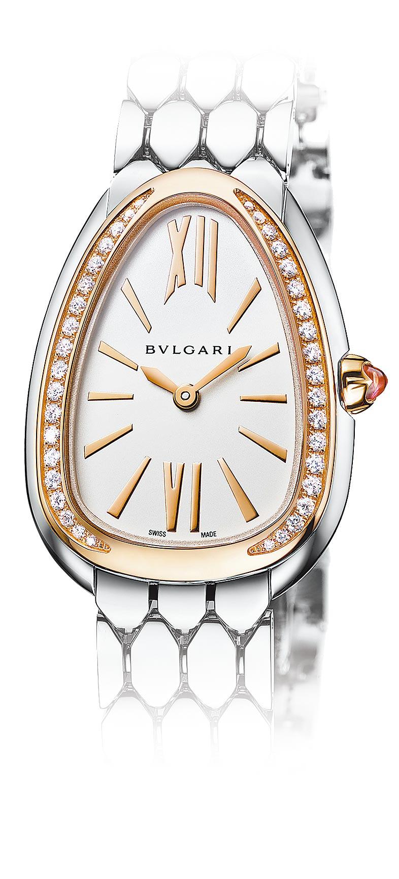 寶格麗SERPENTI SEDUTTORI精鋼與玫瑰金鑲鑽腕表,約34萬9900元。(BVLGARI提供)