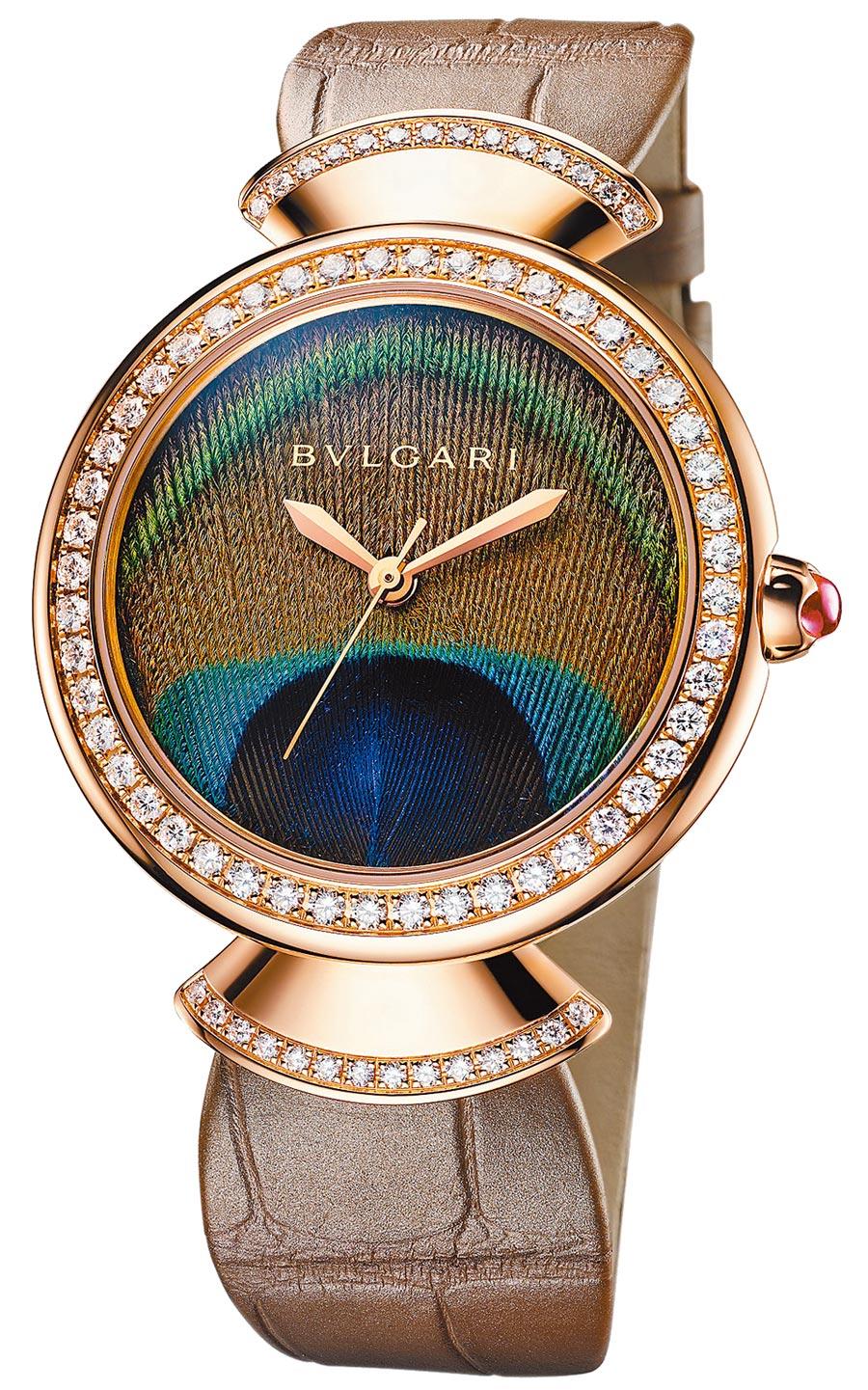 寶格麗DIVAS'DREAM PEACOCK玫瑰金鑲鑽孔雀腕表,約84萬5000元。(BVLGARI提供)