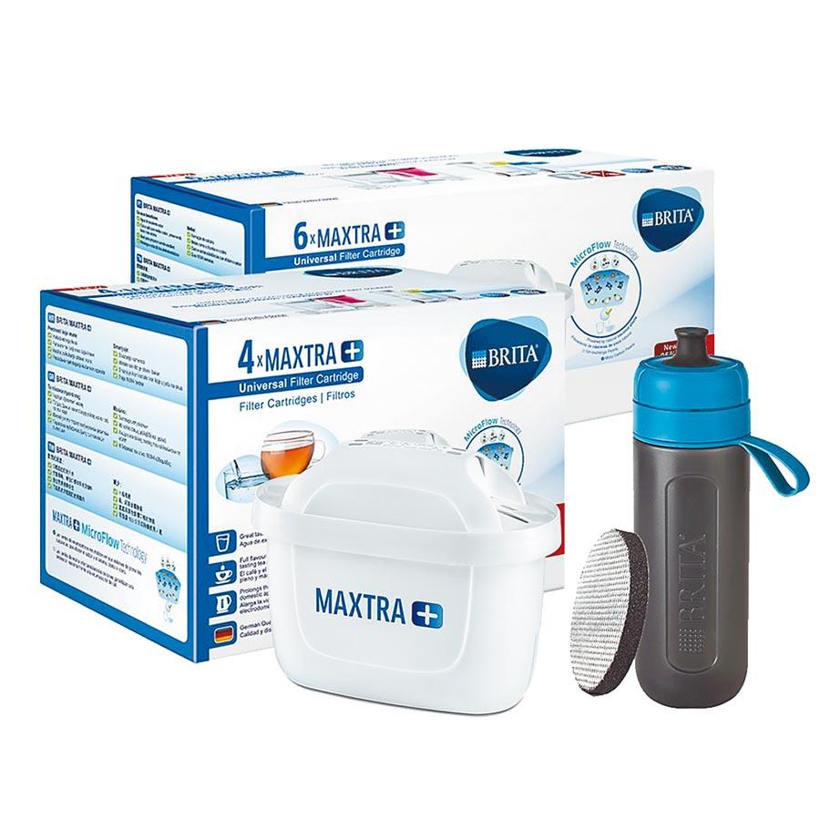 PChome 24h購物的德國BRITA MAXTRA Plus 10入濾芯,送德國BRITA Fill&Go Active運動濾水瓶,原價3900元,15日早上10點59分前特價1799元。(PChome 24h購物提供)