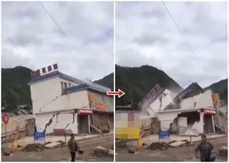 四川涼山山洪暴發  一間賓館被洪水沖毀