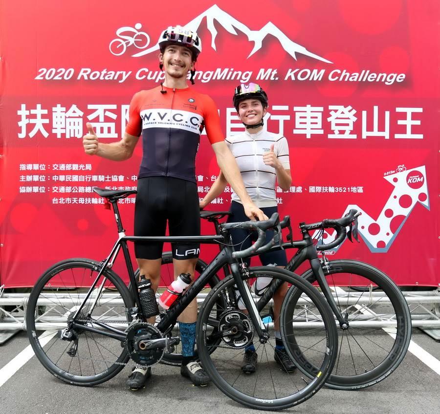 擁有保加利亞、加拿大雙重國籍的崔奇夫摘下菁英男子組冠軍,女友艾歐娜也拿女子組第3。(中華民國自行車騎士協會提供)