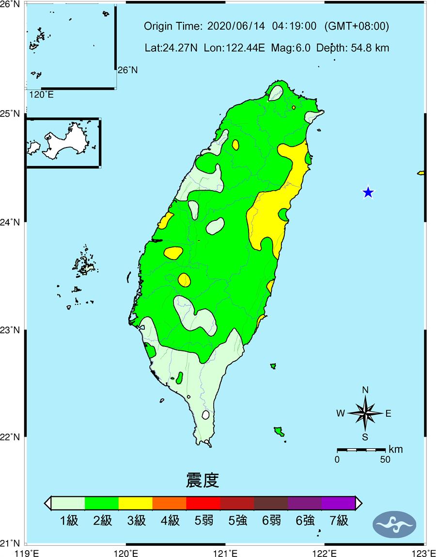 圖為全台震度圖,各地震度1級到3級。(氣象局)