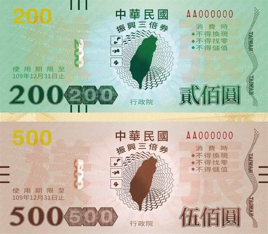 「振興三倍券」由於面額分為200元及500元,剛好與刮刮樂的面額相同。(報系資料照)