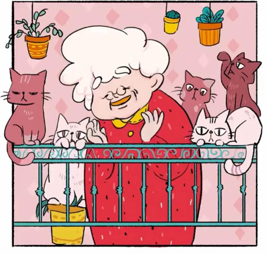 現於新加坡工作的台灣動畫設計師林家安,以一位身旁圍繞許多貓咪的老奶奶為主角,參與由阿根廷動畫工作室發起的拍手短影片計畫。(摘自IG)