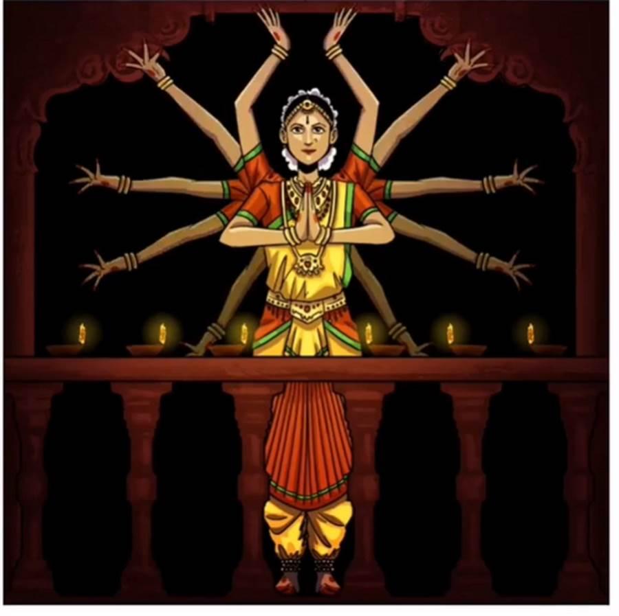 來自印度的動畫師Gaurav Wakankar,描繪一位穿著印度傳統服裝的女性,以千手觀音的方式,為醫護人員鼓掌。(摘自IG)