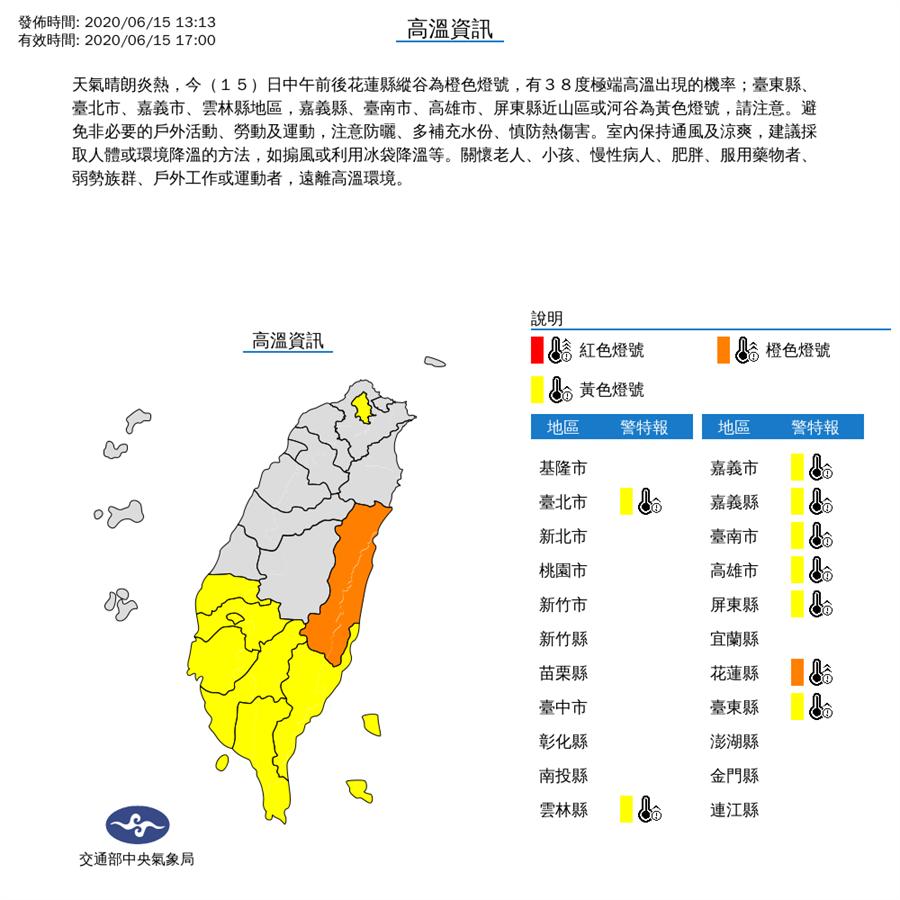 氣象局針對台北市等9縣市發出高溫資訊。(圖/氣象局)