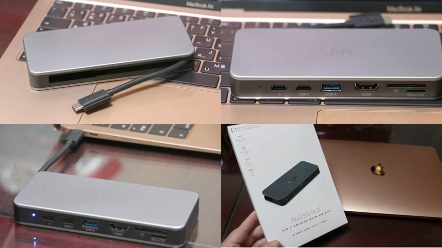 VAP 256FB SSD HUB連接埠位置與包裝盒。(黃慧雯攝)