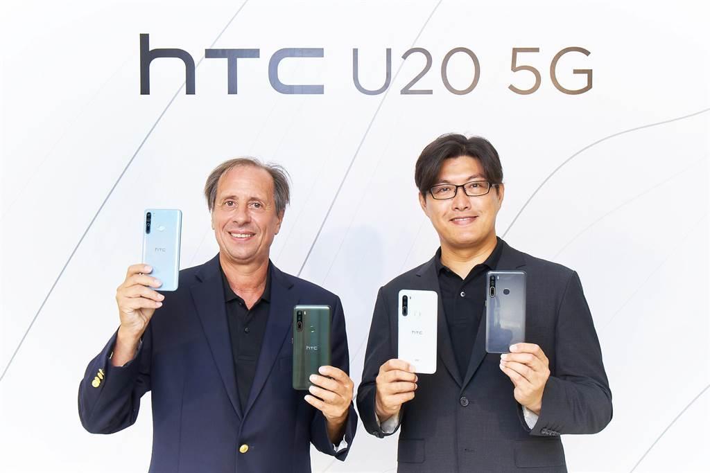 HTC台灣區總經理陳柏諭、HTC CEO Yves Maitre。(宏達電提供)