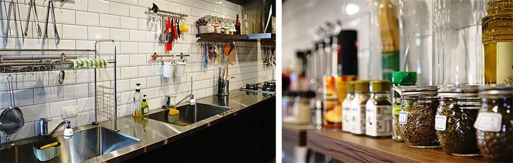 廚房內各式基本器材及調味料兼具,幾乎只要一卡菜籃就能輕鬆下廚。(攝影/曾信耀)