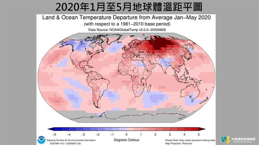 全球陸地的氣溫則創下141年以來的最高紀錄,比長期平均溫高出了1.39°C,僅以0.04°C的差距擊退了2012年的1.35°C;北半球的海洋和陸地均溫也創紀錄,比長期平均溫高出了1.19°C。(取自天氣風險公司臉書)