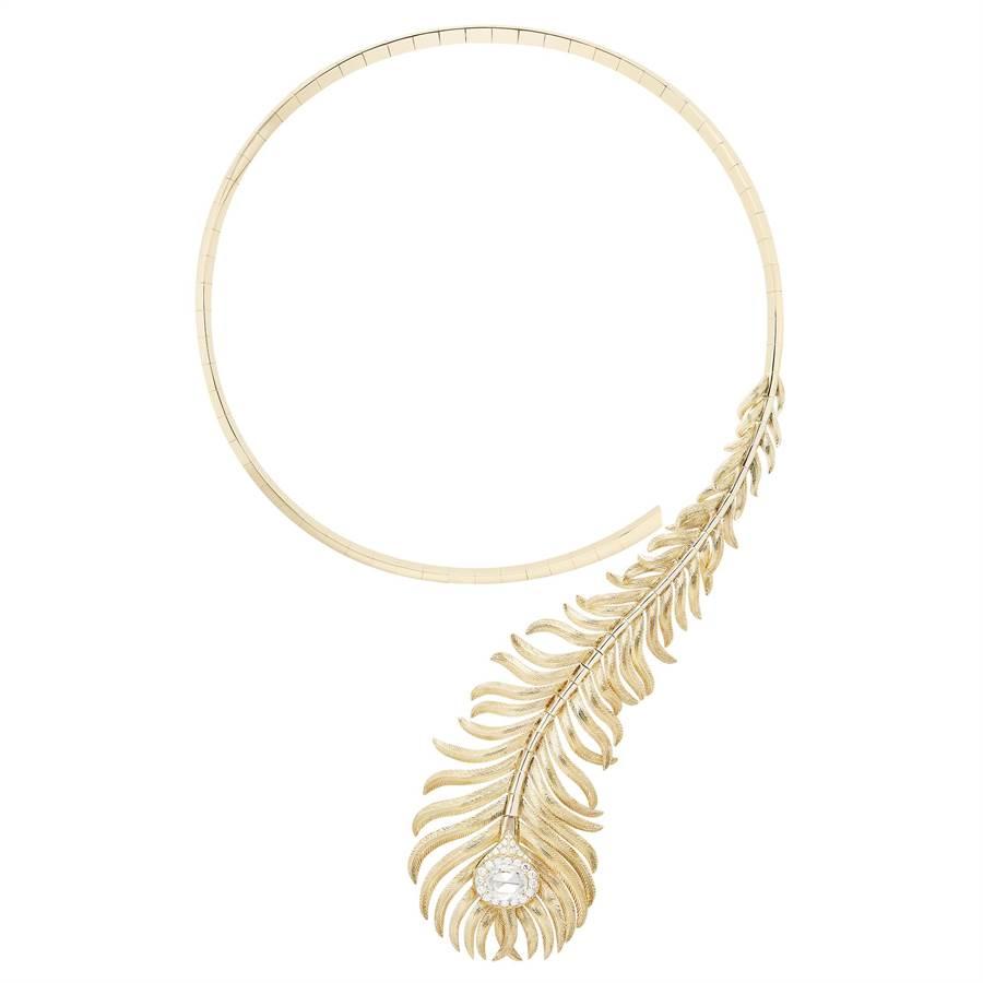 Boucheron Plume de Paon孔雀羽毛系列珠寶,台北101專賣店首度亮相、搶先展示,價格店洽。(台北101提供)