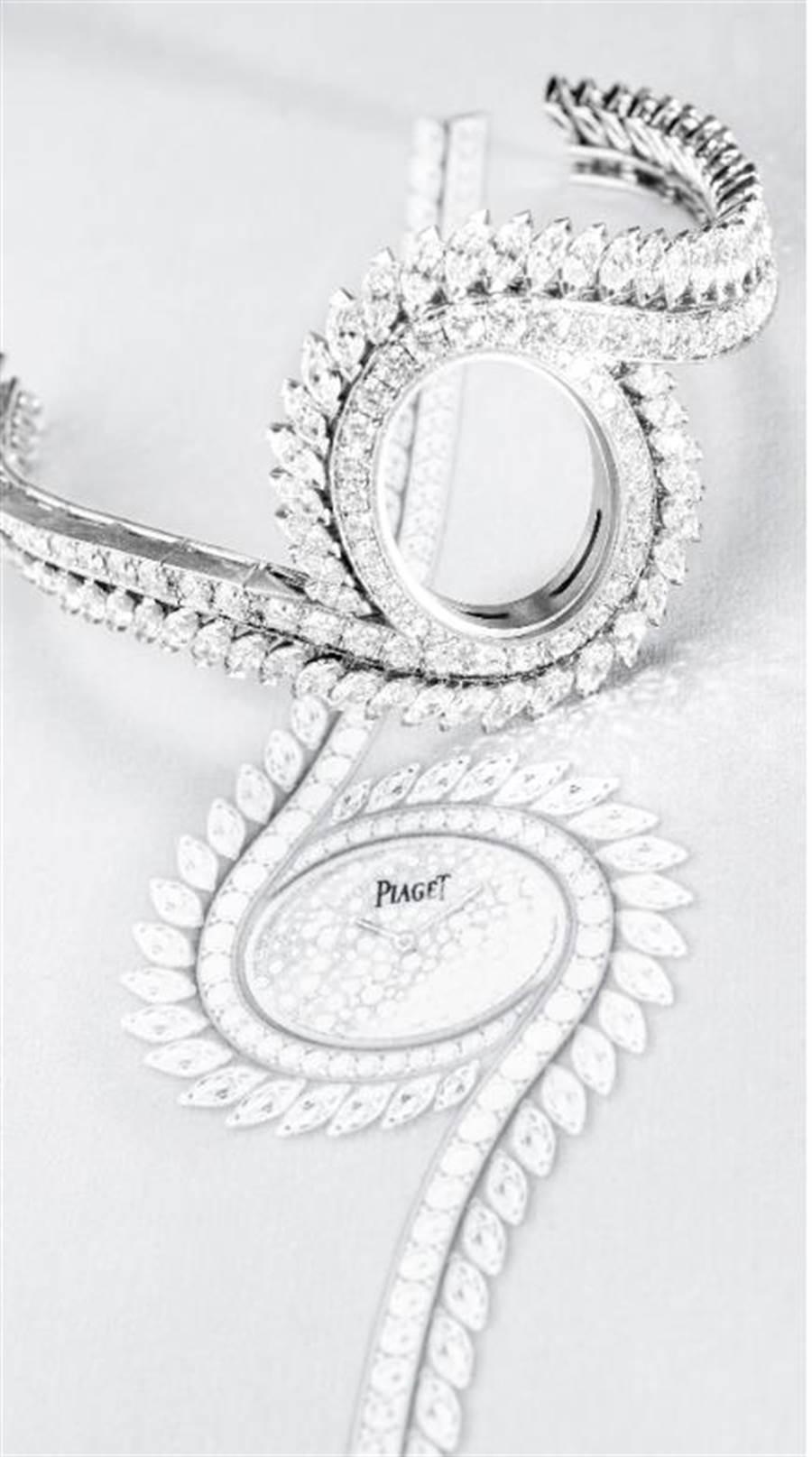 PIAGET Limelight Gala系列18K白金鑲鑽頂級珠寶腕表,2020年Limelight Gala系列珠寶腕錶推出的頂級款式,全球首次曝光,1110萬元。(台北101提供)