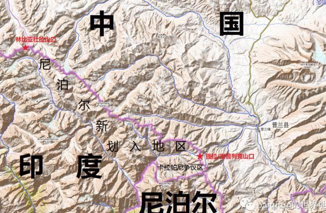 尼泊爾公佈修訂後的國家地圖,將之前沒有納入國境的里普列克(Lipulekh)、林皮亞杜拉(Limpiyadhura)和卡拉帕尼(Kalapani)地區共300平方公里土地劃入國境。(圖/微博)