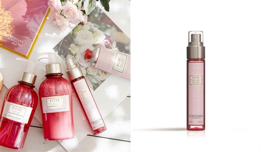 歐舒丹玫瑰花園香氛系列,擷取來自普羅旺斯格拉斯的珍貴千葉玫瑰精萃與花露,玫瑰花園香氛保濕噴霧可為肌膚帶來保溼和鎮靜舒緩,適合乾燥敏感肌使用。(圖/品牌提供)