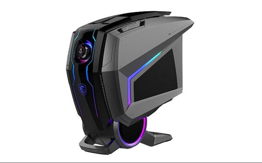 MSI Aegis Ti5搭載業界首見HMI人機介面電競旋鈕,內建5G模組與帶來搶眼盔甲披風外觀燈光視覺,預計8月上市。(圖/NOVA情報誌提供)