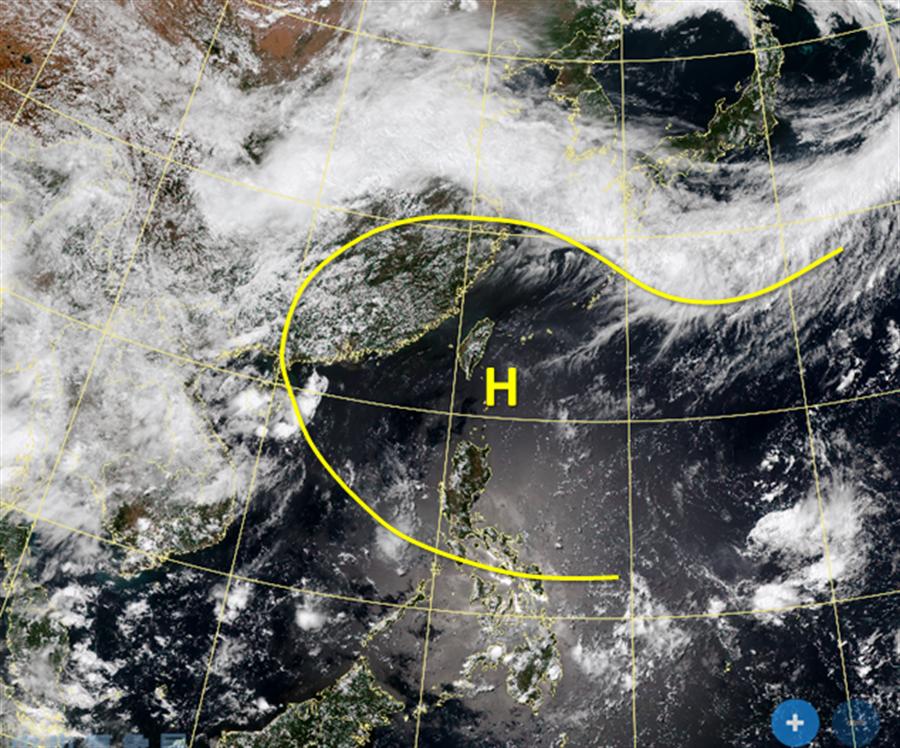 吳聖宇指出,這兩天台灣剛好在太平洋高壓下方,高壓下沉加上太陽直射導致極端高溫出現。(摘自吳聖宇臉書)