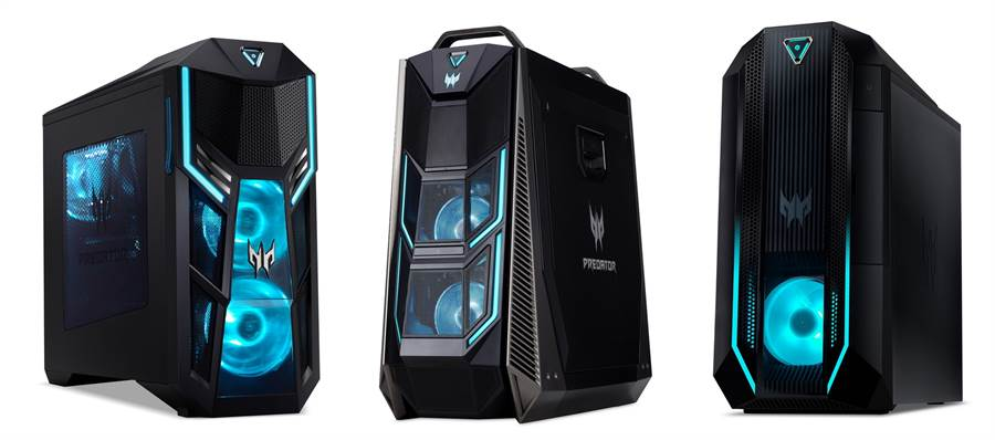 Predator Orion 5000 P05-615S搭載10代Core i7超頻CPU+RTX顯卡(圖左)、Predator Orion 9000 P09-920內建10代超頻版Core i9-10900K+RTX2080系列顯卡(圖中)、Predator Orion 3000 P03-620全面升級10代處理器(圖右)。(圖/NOVA情報誌提供)