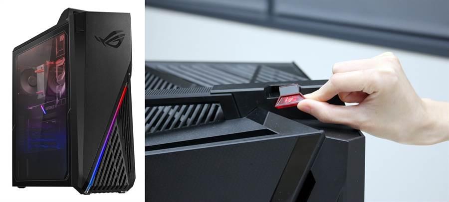 ROG Strix GT35定位電競入門款,體型縮減約1/3(圖左)、ROG Strix GT35搭載業界電競桌機首創「KeyStone鑰石」應用(圖右)。(圖/NOVA情報誌提供)