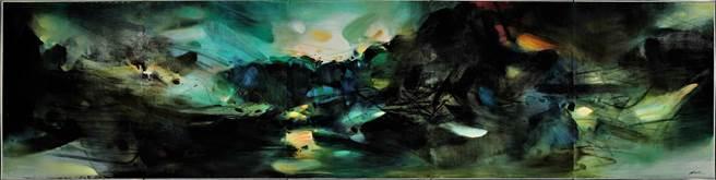《自然頌》是朱德群畢生唯一一幅五聯屏油畫。(香港蘇富比提供)