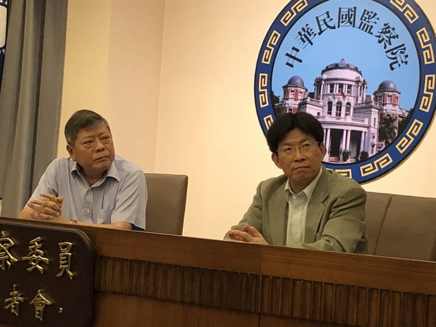 監委趙永清(左)、高涌誠(右)上午舉行記者會。(趙婉淳攝)