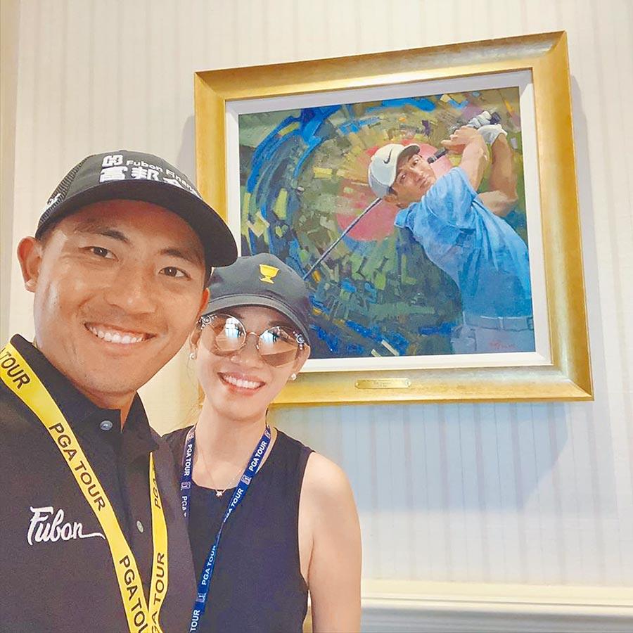潘政琮(左)和妻子林盈君一起在美國打拚,兩人本季PGA會自行開著露營車到處比賽。(取自潘政琮臉書粉專)