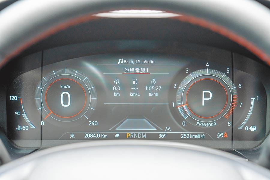 Ford Kuga EcoBoost 250 AWD ST-Line採用12.3吋寬螢幕全數位儀表板。(福特六和提供)