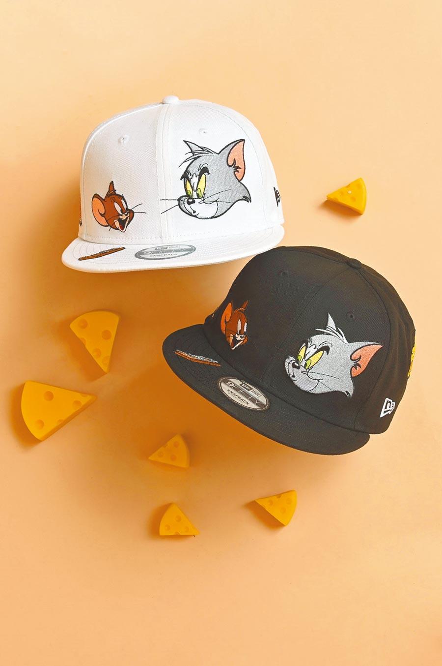 品牌經典9FIFTY、9FORTY帽款1680元,呈現兩位主角的大頭圖樣,及綴飾傑利鼠最愛的黃金起司,帽子後方的「T AND J」字樣,也將這兩位歡喜冤家做了完美結合,邀粉絲一起重溫童年回憶,6月24日起於全台New Era門市與網路商城開賣。(New Era提供)