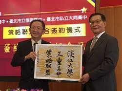 三重高中與淡江大學簽訂策略聯盟 校門入畫作為簽約贈禮