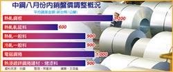 中鋼 全面調漲8月內銷盤價