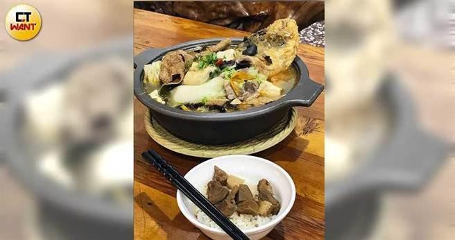 「沙鍋魚頭」肉質鮮彈且完美吸附湯汁,魚骨頭酥脆到幾乎可直接咬碎食用。(攝影/洪釧瑜)
