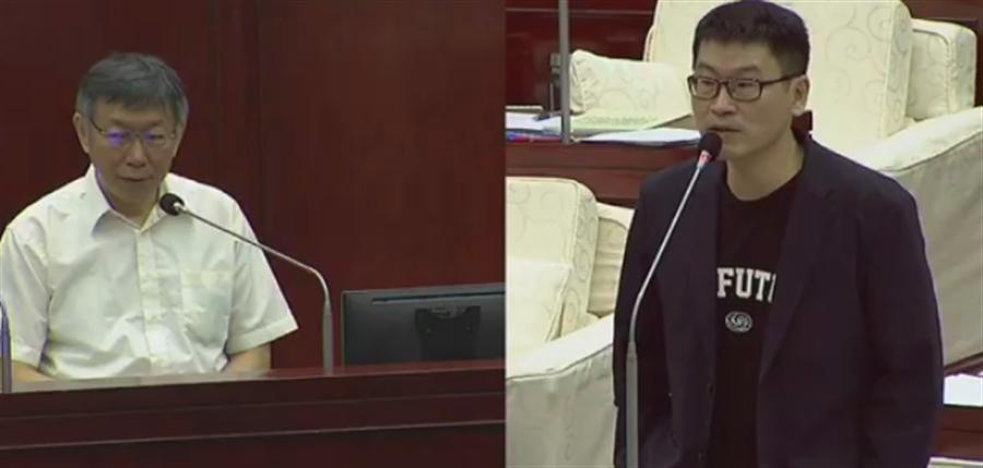 台北市长柯文哲(左)19日赴议会专案报告。(摘自柯P直播)
