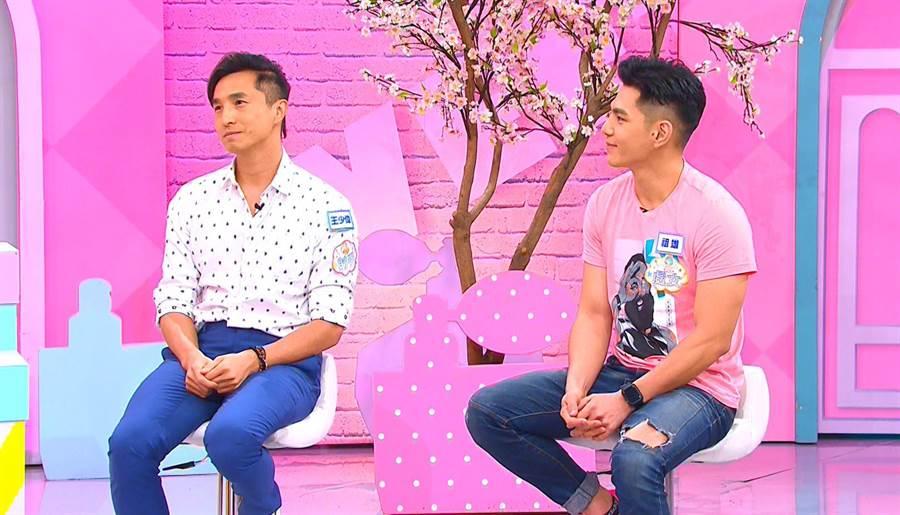 王少偉(左)與祖雄上《女人我最大》。 TVBS提供