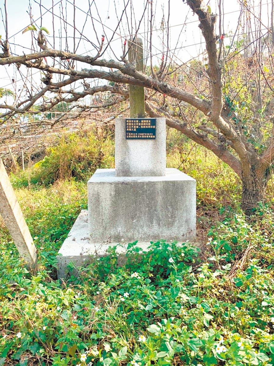 紀念原漢衝突的「擔送人夫戰死紀念碑」,被梨樹遮擋多年,有望讓紀念碑重見天日。(大湖鄉公所提供/巫靜婷苗栗傳真)
