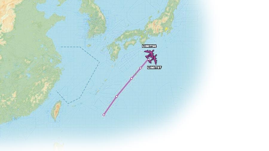 「飛機守望」推特公布的美軍轟炸機飛行路線。(取自AircraftSpots推特)