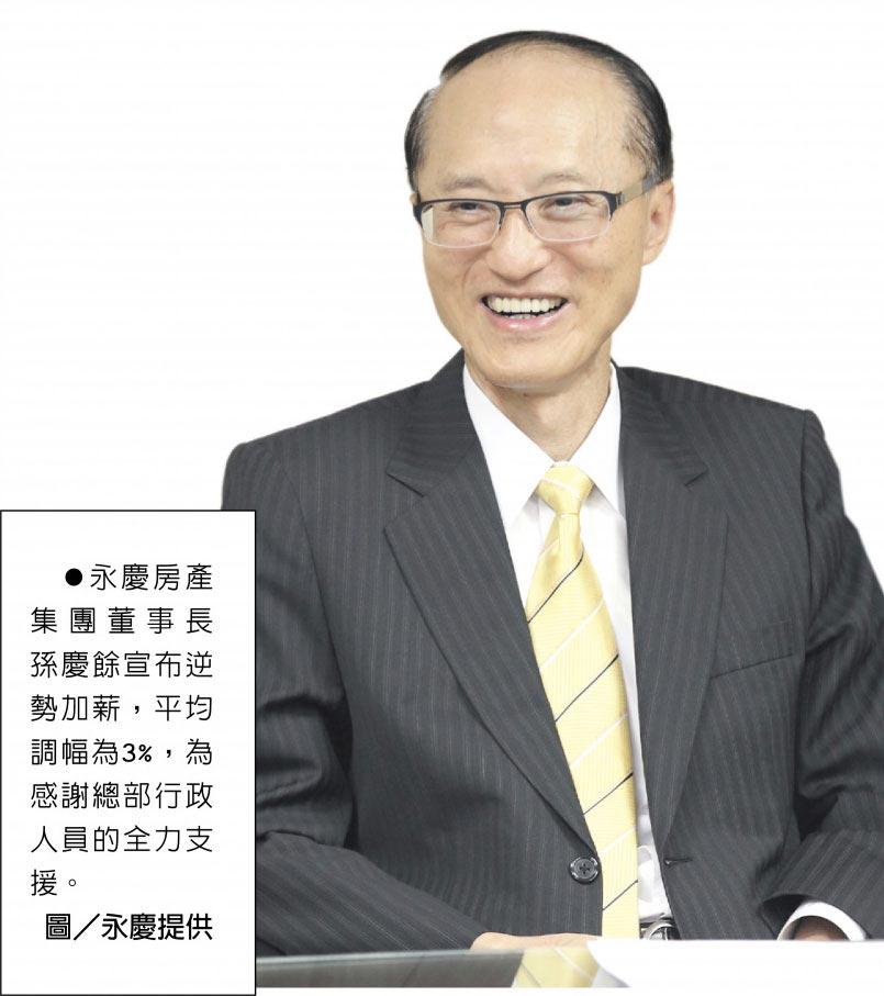 永慶房產集團董事長孫慶餘宣布逆勢加薪,平均調幅為3%,為感謝總部行政人員的全力支援。圖/永慶提供