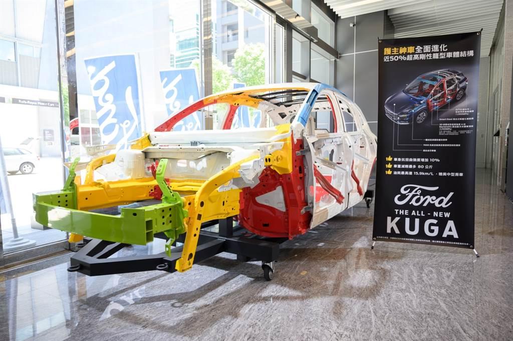 The All-New Ford Kuga車身結構以近 50% 超高剛性鋼材布局打造,使車身抗扭曲強度提升10%,並兼具輕量化之特性,也帶來更優異的安全性